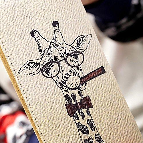Woolala Neue Ankunft - Einzigartige Illustration Geldbörse Reißverschluss Akkordeon Portemonnaie Lange Geldbörse Für Geburtstag / Urlaub Geschenk, Giraffe Kitz