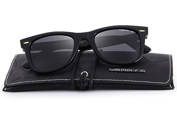 79353d2eaf MERRY S Retro Rivet Polarized Sunglasses for Men 80 s Classic Women Sun  glasses S8140 (Black