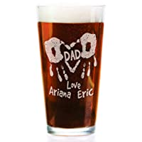 Hand Print Daddy Mom Personalized with Kids Names 16oz Pub Glass for Dad Mommy Grandparents Parents Papa from Son Daughter Baby Beer Mug for Christmas Birthday Fathers Day
