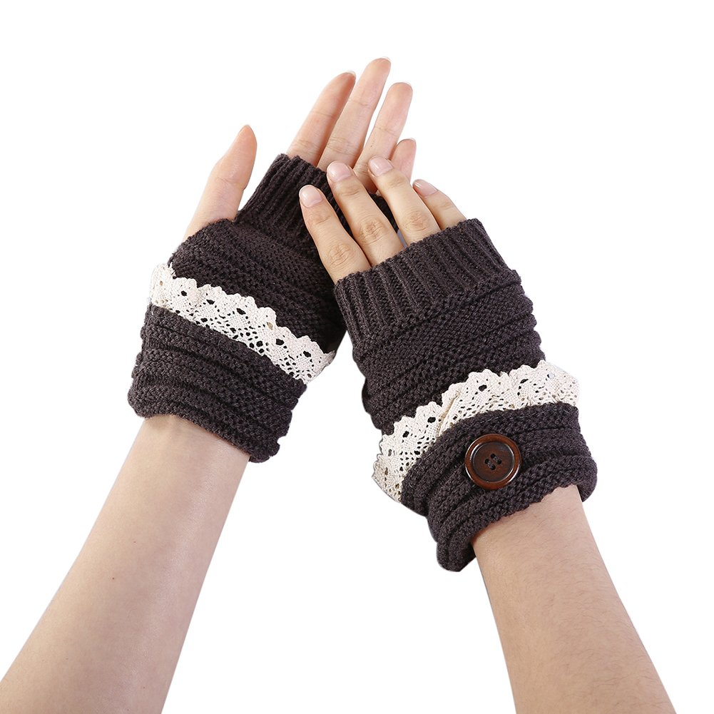 Colorido Women Winter Warm Lace Trim Fingerless Button Knitted Gloves Mitten size One Size (Dark Gray)