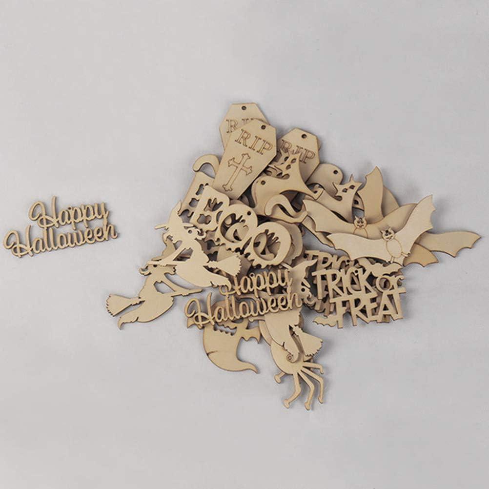 20 Pcs Mod/èle Assorti Amosfun Halloween Ornements en Bois Heureux Halloween Sorci/ère Araign/ée Fabriqu/é Parti Miniature D/écorations