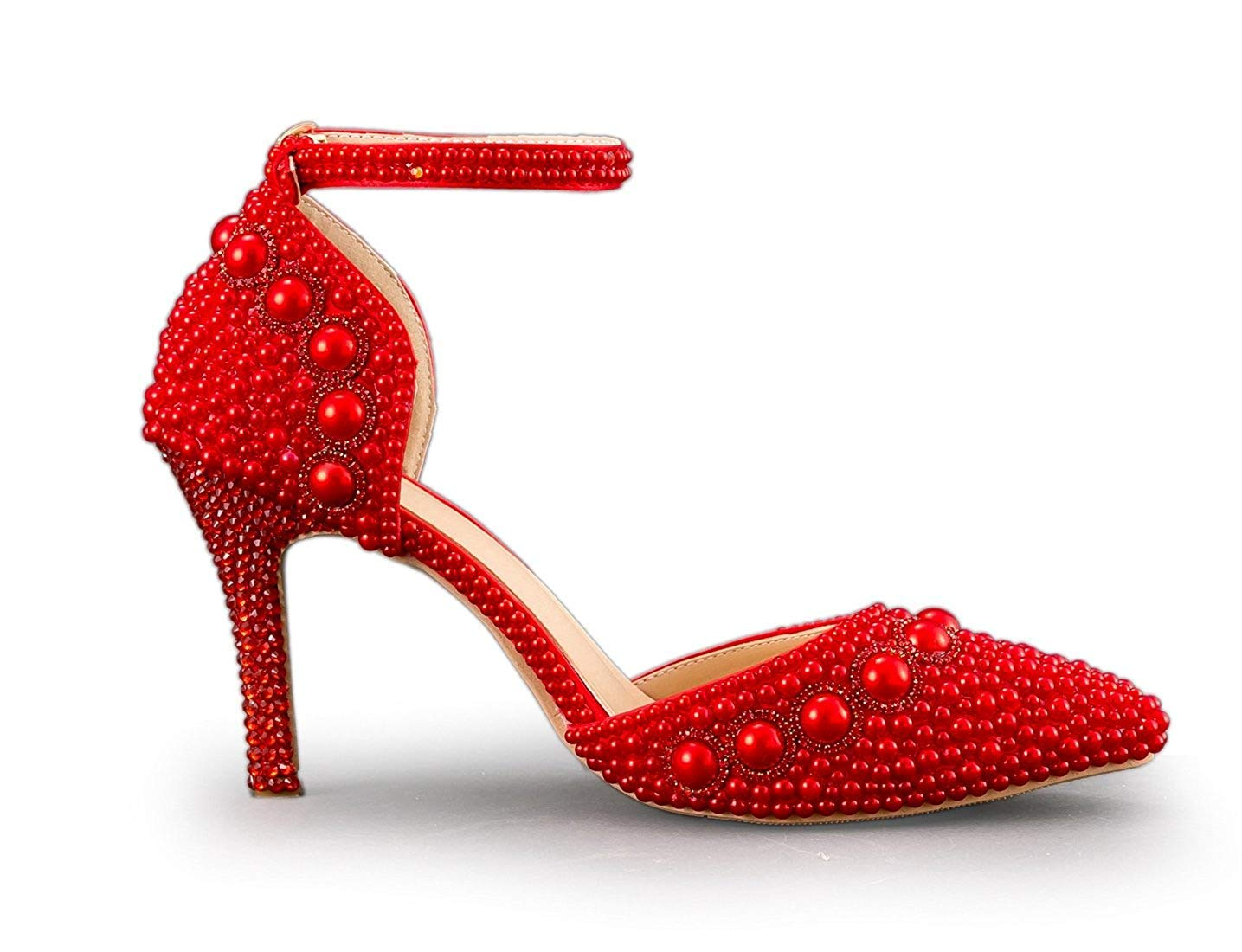 Qiusa Frauen Spitz Knöchelriemen Friesen Rot Hochzeit Hochzeit Hochzeit Besondere Anlässe Schuhe UK 5 (Farbe   -, Größe   -) 7fdb60