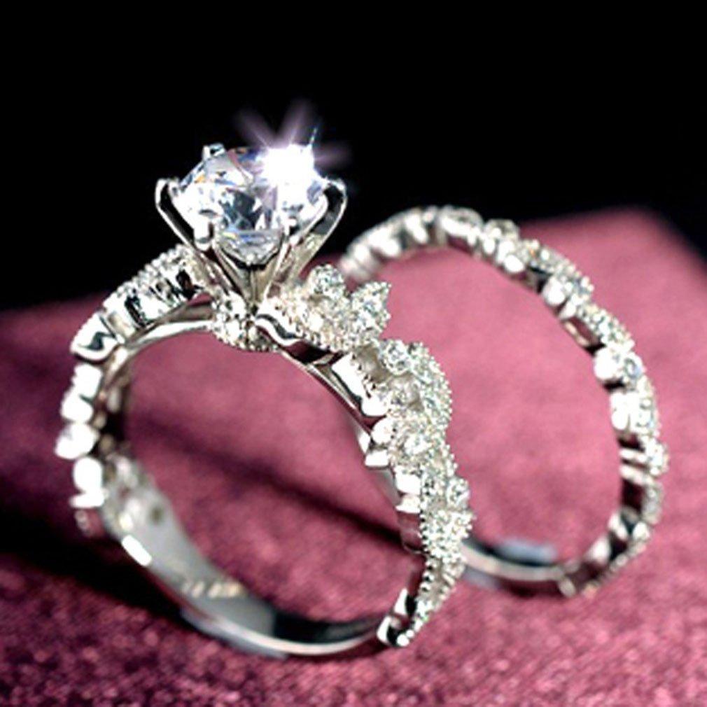 Amazon.com: Dolland Bridal Ring White Round Cubic Zirconia Simulated ...