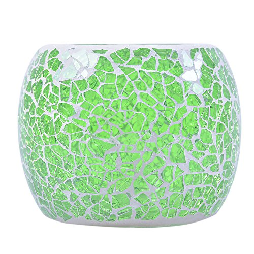 Loving5 Candle Holder/Mosaic Handmade Glass Votive Tealight Candle Lamps Handlestick Artwork for Home/Valentine Décor Christmas Wedding Party Gift (13)