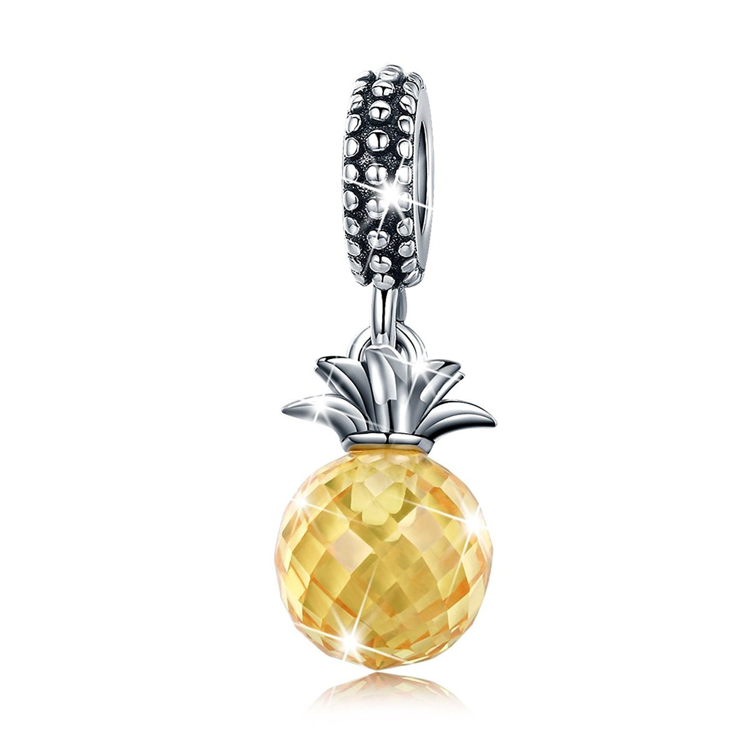 Summer Fruit Pineapple with Yellow CZ 925 Sterling Silver Bead Charms for Bracelet Mother's Day Gifts