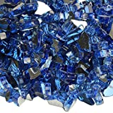 onlyfire 1/4-Inch Fire Glass for Natural or Propane Fire Pit, Fireplace, or Gas Log Sets, 10-Pound, Cobalt Blue Reflective