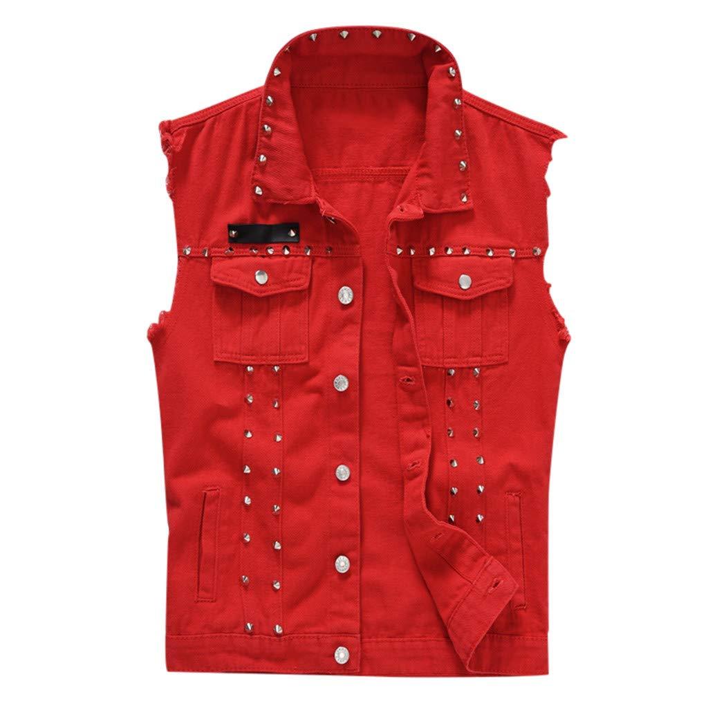 GDJGTA Vest for Mens Denim Vest Casual Sleeveless Cowboy Jacket in Shoulder Blouse