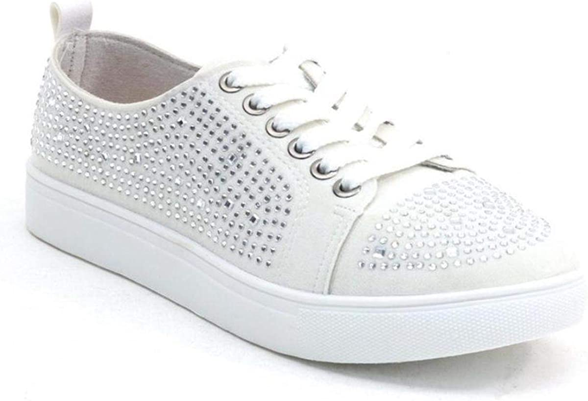 White Rhinestone Tennis Shoes Sneakers