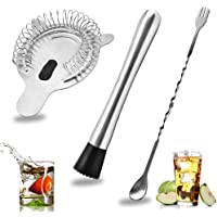 SENHAI Stainless Steel Cocktail Muddler, Spiral Mixing Spoon & 4-Prong Bar Strainer, Home Bar Bartender's Muddling Tool…