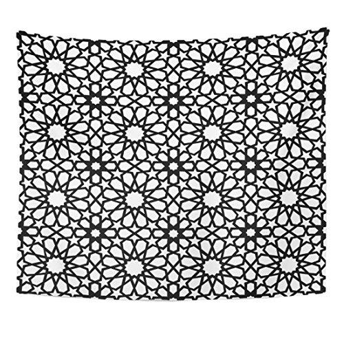 TOMPOP Tapestry Moorish Classic Arab Ceramic Mosaic with Abstract Black and White Geometric Shape Antique Arabesque Home Decor Wall Hanging for Living Room Bedroom Dorm 50x60 (Moorish Mosaic)