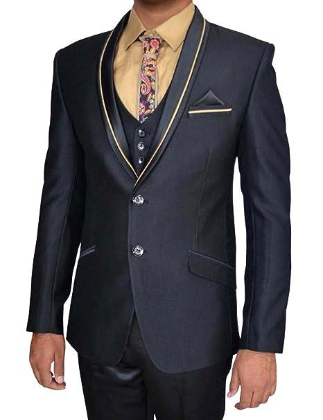 INMONARCH Hombres 7 Pc traje negro esmoquin Ropa de fiesta ...