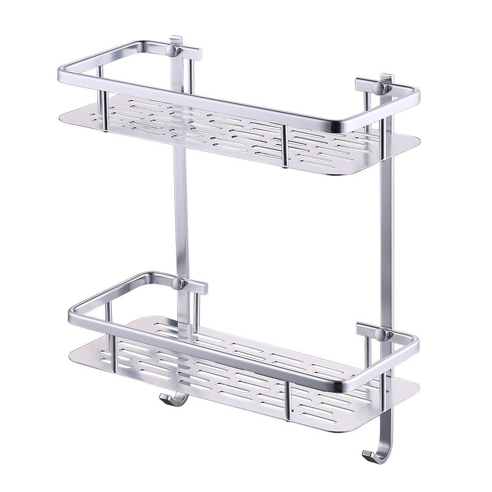 KES A4028 Bathroom Aluminum Storage Shelf Basket with Hooks Wall Mounted, Silver Sand-Sprayed KES Home (U.S.) Limited COMINHKR076768