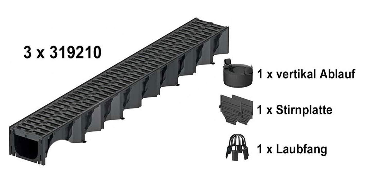 ACO Self/® Hexaline 2.0 Entw/ässerungsrinne mit Kunststoffrost und rutschhemmendem Microgrip 3 x 1m mit Zubeh/ör-Set