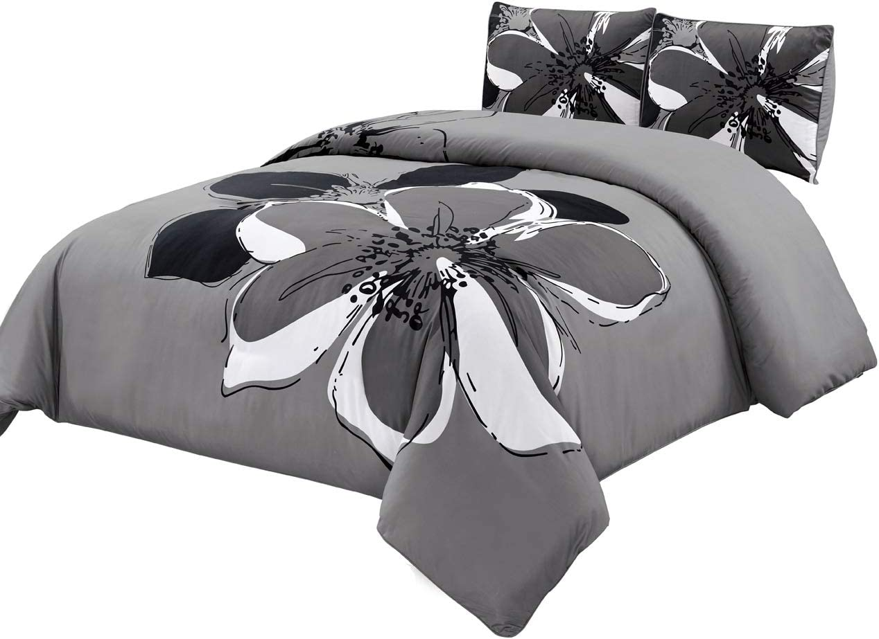 GrandLinen 3-Piece Fine Printed Duvet Cover Set Queen Size - 1500 Series high Thread Count Brushed Microfiber - Luxury, Soft, Durable (Grey, Black, White)