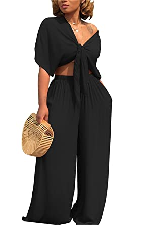 501f4c61f85 Women s Two Piece Outfits Set Plain Tie Knot Crop Top Wide Flare Led Long  Pants Black