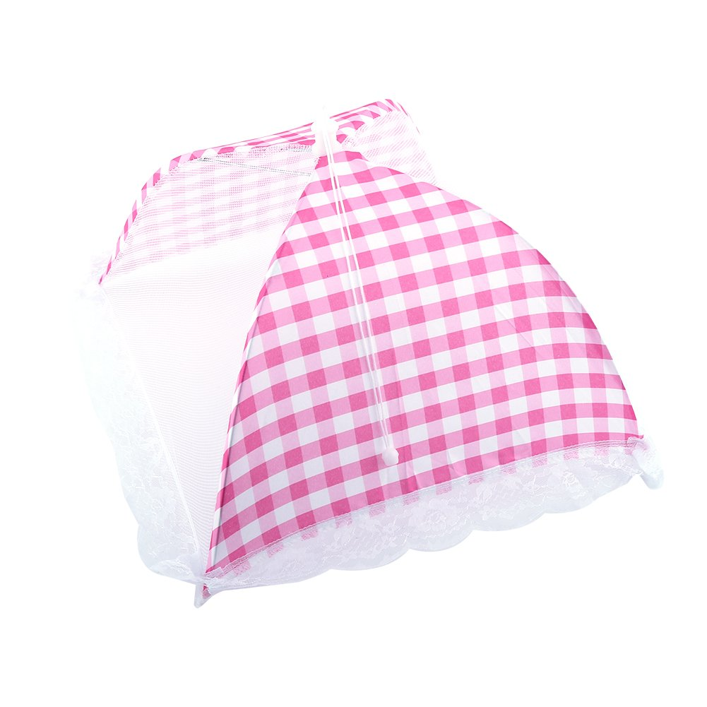 Umbrella Covers For Food, Asixx Collapsible Food Umbrella Cover Pop Up Dome Mesh Fly Wasp Insect Net BBQ Kitchen Easy to open and Storage 32x31cm(Pink)