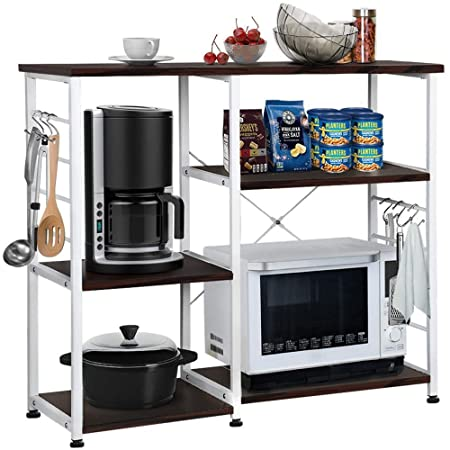 Yaheetech 35.5 Microwave Cart Kitchen Baker s Rack Microwave Oven Workstation Shelf Standing Spice Storage Cart 3-Tier 3-Tier Black Brown