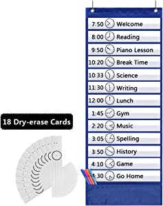 Eamay Daily Schedule Pocket Charts, Teacher Schedule Chart with Resuable 18 Custom Cards, Classroom Pocket Chart for School Office or Homeschool Activities, Blue