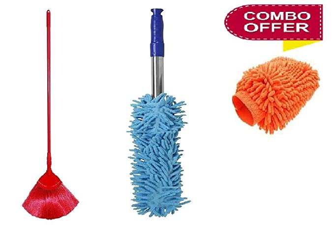 GT Gloptook 3 in 1 Cleaning Duster Combo of Micro Fibre Duster + JALA Brush + Hand Glove Duster (Multi-Color)