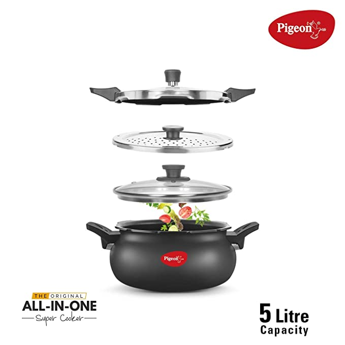 Pigeon Steel Hard Anodized All in One Super Cooker, 5L (Black) Pressure Cookers at amazon