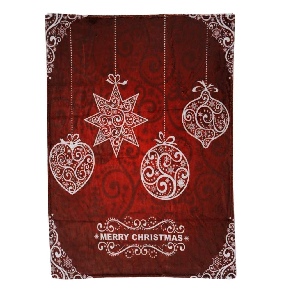 LLIND Christmas Blanket Flannel Fabric Sofa Bed Blanket 70x100cm/130x150cm/150x200cm,Christmas Blanket,Christmas Bed Supplies,Christmas Decor (Red A, M) (Color : Red E, Size : Medium)