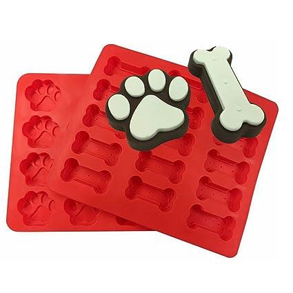 lyxy, 15 agujero Mini hueso de perro 14 agujero Mini perro huellas silicona, dos