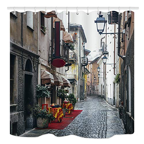 KOTOM Italy City Street Shower Curtain, Quaint Cobblestone Alleyway in Aosta, Waterproof Fabric Bathroom Decor, Bath Curtains Accessories, with Hooks, 69X70 Inches (Italy Shower Curtain)