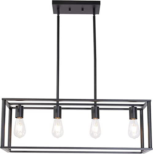 BONLICHT Kitchen Island Dining Room Pendant Lighting 4 Light Industrial Vintage Open Frame Rectangle Chandeliers Modern Black Linear Cage Ceiling Light Fixture for Farmhouse Cafe Bar Restaurant