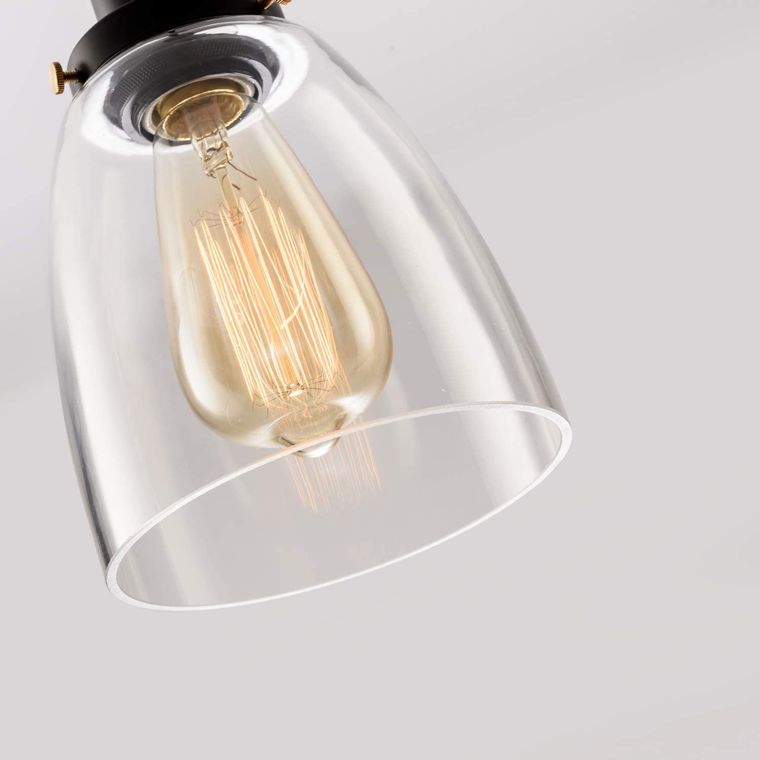 Industrial Pendant Light Clear Mini Glass Hanging 1 Lights Adjutable Nylon Core Ceramic Holder Island Lighting Fixture Indoor for Dining Kitchen Room Entryway Loft Hanging Lamp Bulb Not Included