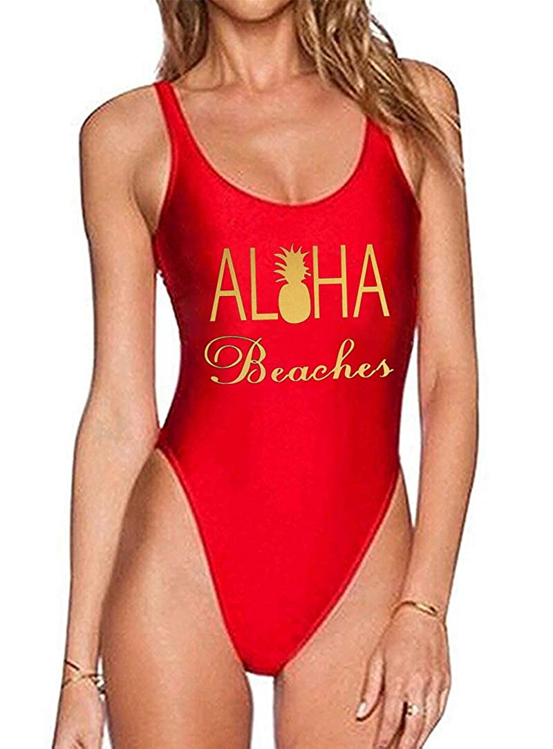 Women One Piece Swimsuit Aloha Beaches Letter Print Swimwear Bathing Suit