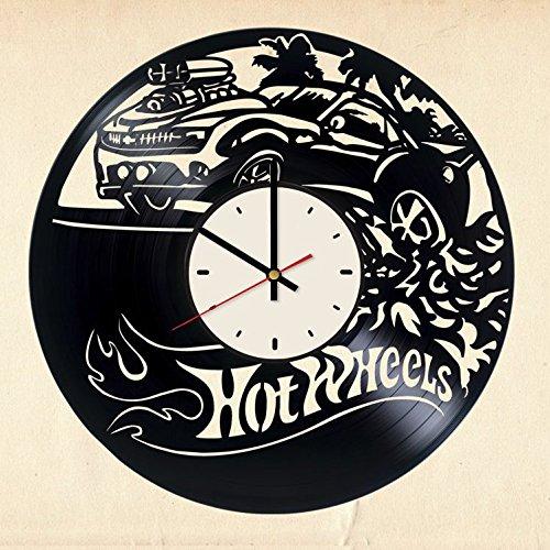 Hot Wheels automobile art decor vinyl record wall clock artwork gift idea for birthday, christmas, women, men, friends, girlfriend boyfriend and teens - living kids room nursery