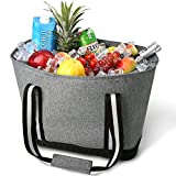 CTOTENICE Soft Cooler Bag Insulated Picnic Basket Collapsible Cooler Tote Thermal with Hard Mode Base (Grey)
