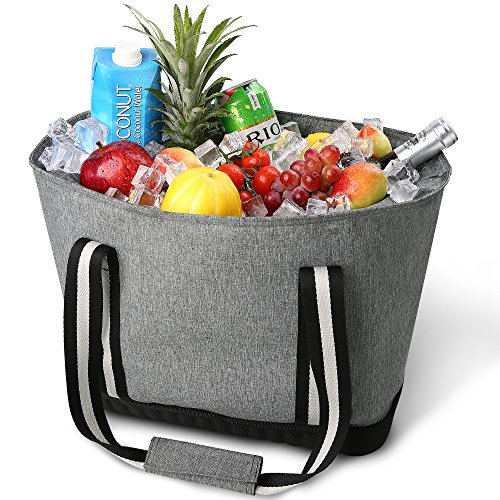 CTOTENICE Soft Cooler Bag Insulated Picnic Basket Collapsible Cooler Tote Thermal with Hard Mode Base (Grey) by CTOTENICE