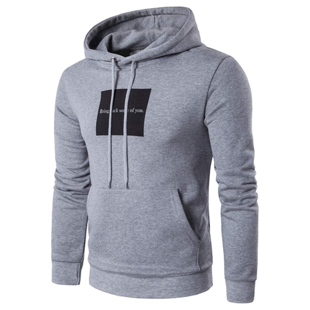 ZhixiaYS Mens Letter Print Pullover Hoodie Sweatshirts Sport Front Pocket Outwear Hooded
