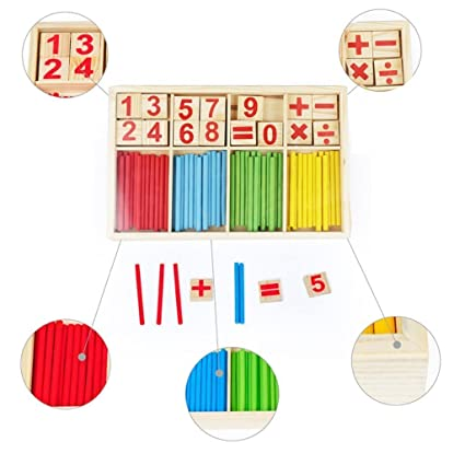 Buy Counting Sticks Box Set Montessori Wooden Number Maths Sticks ...