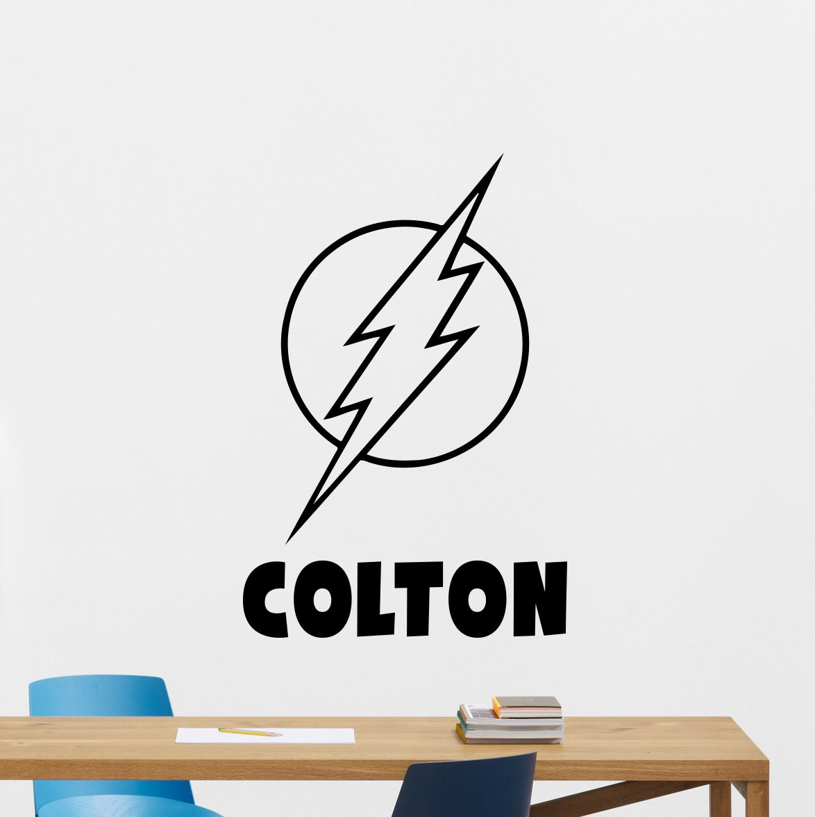 Personalized flash wall decal custom name superhero comics cartoon poster stencil wall vinyl sticker kids teen boy room nursery bedroom wall art decor mural