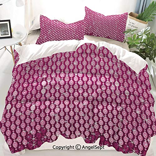 - Homenon Magenta Decor Duvet Cover Set Queen Size,Abstract Oval Diamonds Dangling Art Digital Design with Ombre Color,Decorative 3 Piece Bedding Set with 2 Pillow Shams