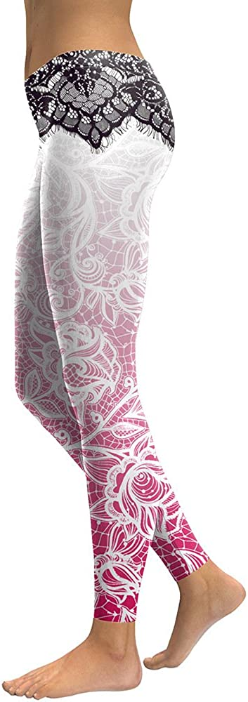 New Women Leggings Mandala Flower Digital Print Slim Pink Fitness Woman Leggins Workout Yoga High Waist Pants,