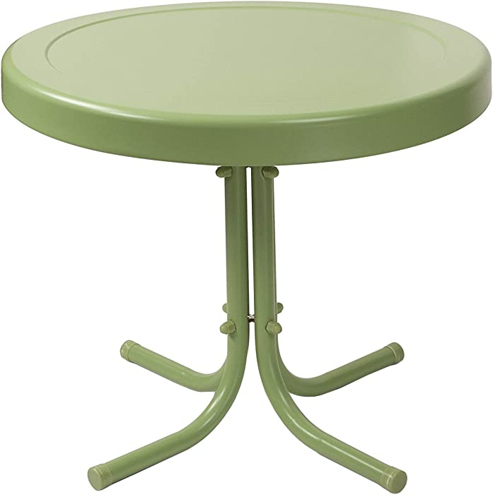 Crosley Furniture Gracie Retro 20-inch Metal Outdoor Side Table - Oasis Green