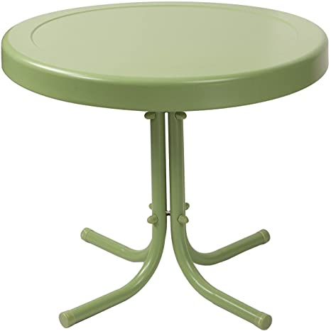 Crosley Furniture Gracie Retro 20 Inch Metal Outdoor Side Table   Oasis  Green