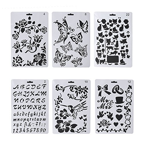 6 PCS Wood Burning Stencils, Pyrography Plastic Templates Set for Wood Burning/Carving with Letters Number Alphabet & Various Pattern + Carrying Bag by drtulz