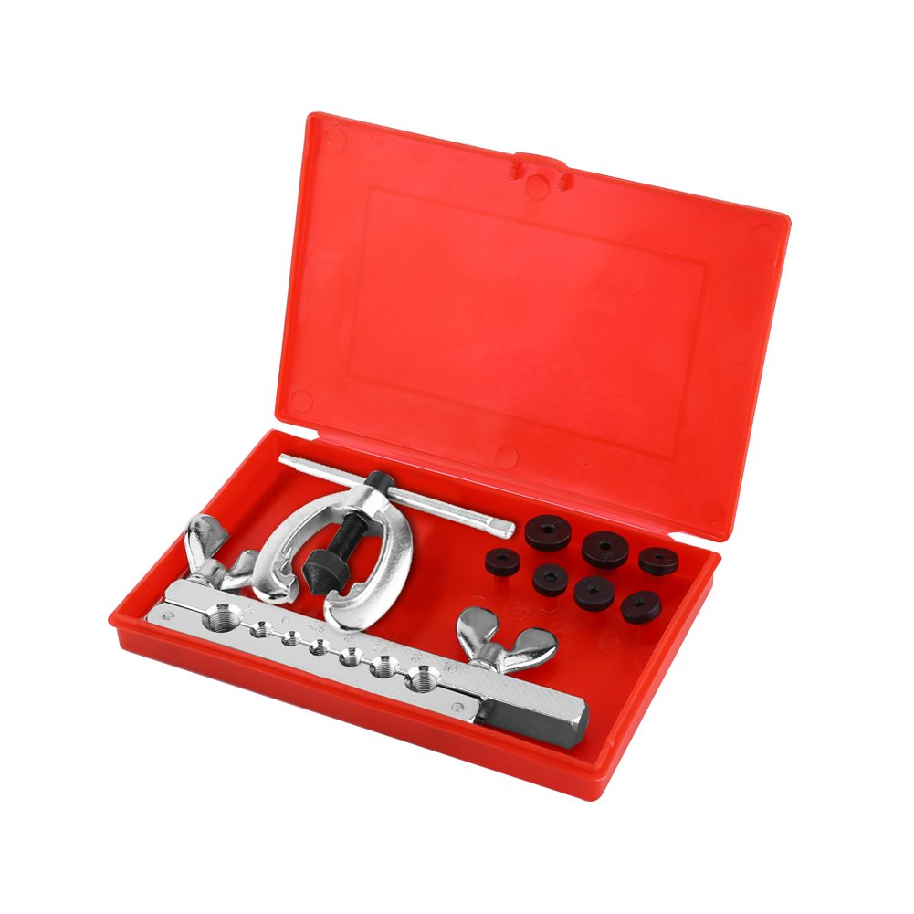 9Pcs Brake Tube Repair Flare Set Includes Clamp Spreader Dies Well Packaged in a Red Case Pipe Flaring Tool Kit