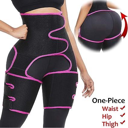 Amazon Com Fatapaese Waist Trainer And Thigh Trimmer 3 In 1 Hip Enhancer Leg Shapers High Waist Slimming Belt Workout Shapewear For Running Training Support Girdle Belt Fuchsia Xl Clothing