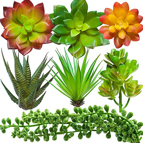 Mayarii Fake Succulent Plants Artificial Decoration - Faux Plant Decor Desk Home Office Wedding Centerpiece 7 Piece Set