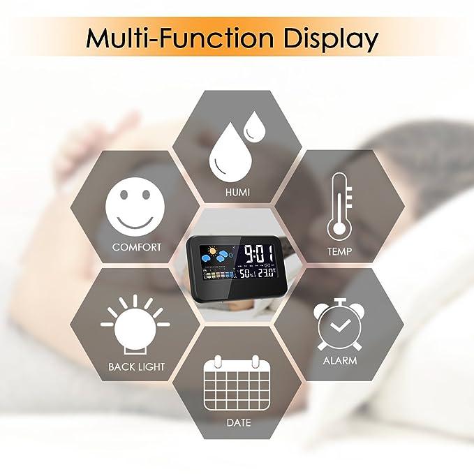Termómetro Higrometro digital,Glisteny Interior Monitor de Humedad Temperatura(Medir Temperatura, Humedad, con Sensor, Alarma): Amazon.es: Hogar