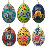 "3"" Wooden Set of 6 Garden Flowers Ukrainian Easter Eggs Christmas Ornaments Pysanky"