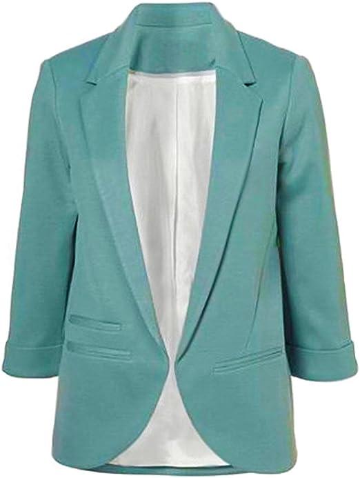 Minetom Damen Elegante 34 Arm Blazer Sakko Einfarbig Slim Fit Vorne Offnung Tasche Tailliert Geschäft Büro Kurzjacke Jacke Mantel
