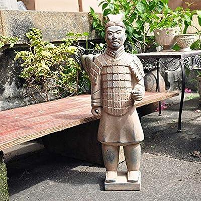 Chengzuoqing Estatua del Jardín Rústico de Terracota Guerreros y Caballos Decoración Hogar Jardín Jardín Villa Jardín al Aire Libre Estatuilla Estatuas 20x56cm para la Decoración del Jardín: Amazon.es: Hogar