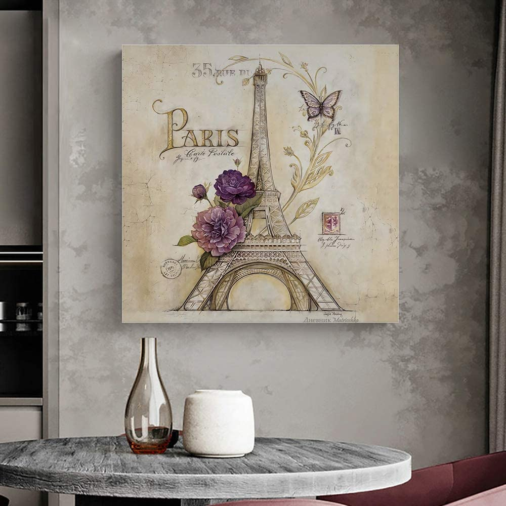Krisyeol Eiffel Tower Canvas Wall Art Painting Wall Decor Retro Butterfly Flowers Picture Canvas Prints Oil Painting for Bedroom Home Decor Modern Artwork Water Color Square Canvas Wall Art 12x12inch