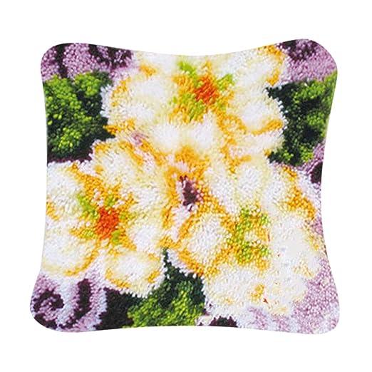 Hellery DIY Floral Latch Hook Alfombra Kits De Confección ...